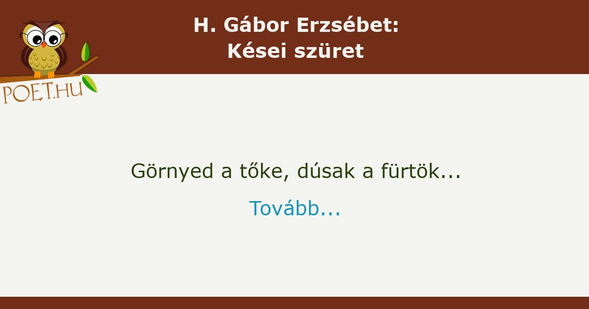 H. Gábor Erzsébet: Kései szüret